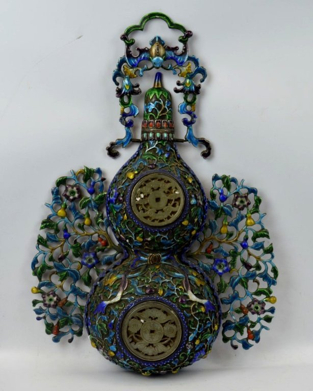 19th C Chinese Enameled & Silvered Double Gourd