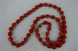 Good Antique Dark Red Coral Bead Necklace
