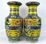 Pr Chinese Yellow Enameled B  W Porcelain Vases