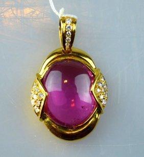 Chinese Rich Pink Tourmaline Pendant