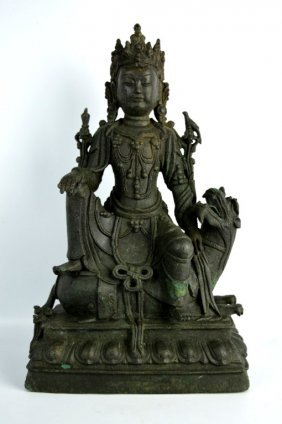 Chinese Cast Metal Guanyin Seated On Lion