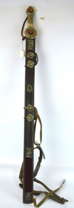 19th C Tibet Iron Sword With Silver & Coral Mounts