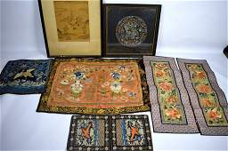 7 Antique Qing Dynasty Chinese Silk Embroideries
