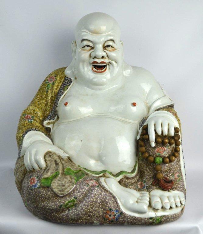 Large Chinese Republic Porcelain Hotai Buddha
