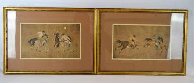 Pair Framed Prints of Ancient Chinese Polo