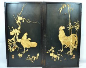 Pair Japanese Carved And Lacquered Door Panels