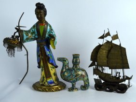 3 Unusual Antique Chinese Metal Figures