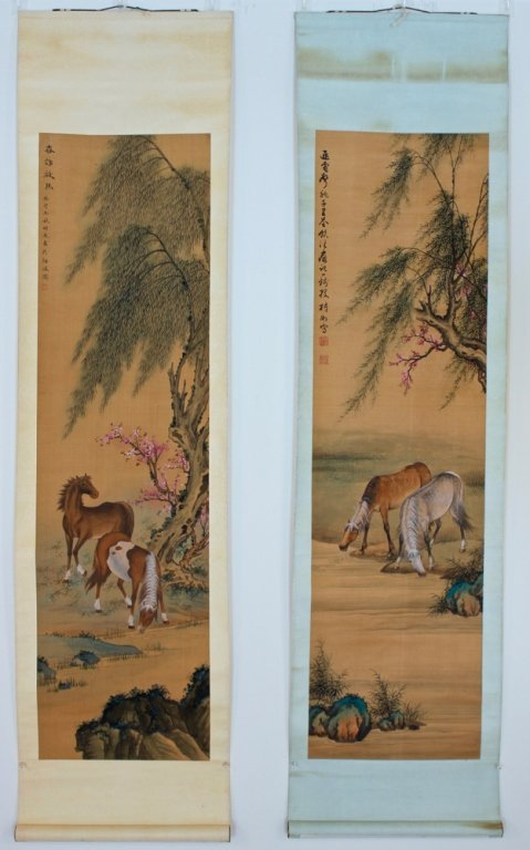 "*Pair of Scrolls, ""Horses, Blossoms & Willows"""