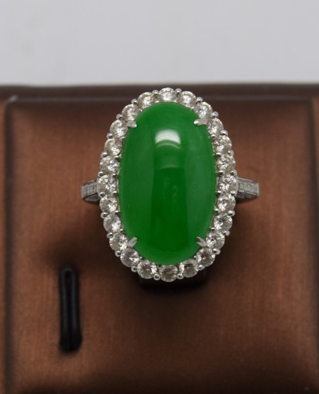 Apple Green Jadeite Jade Diamond Lady's Ring
