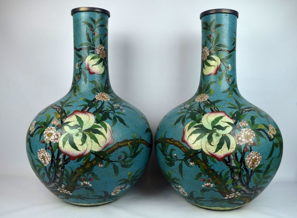 Large Pr. Qing Chinese Cloisonne 9 Peach Vases