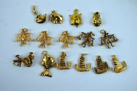 """15 - Yellow Gold Marked """"14k"""" Chinese Charms"""