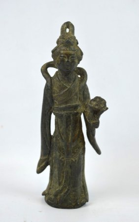 Chinese Tang Style Bronze Standing Woman
