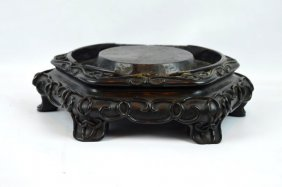 Fine Chinese Hexagonal Carved Stand Probably Zitan