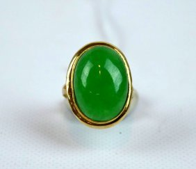 Chinese Natural Jadeite Cabochon In Gold Ring