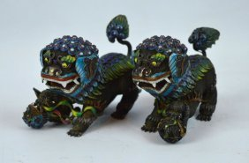 Opposing Pr Chinese Enameled Silver-gilt Lions