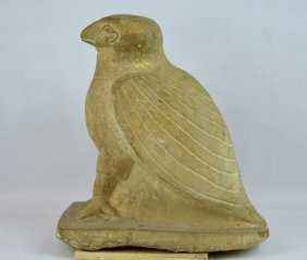 Egyptian Carved Limestone Sculpture Of Horus