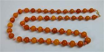Butterscotch Amber Bead Necklace Total 77 Grams