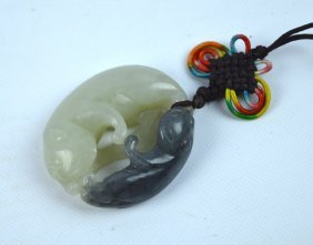 Good Chinese Carved White & Grey Jade Cats Toggle