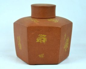 Rare Chinese Kangxi 17th C Yixing Hexagon Tea Jar