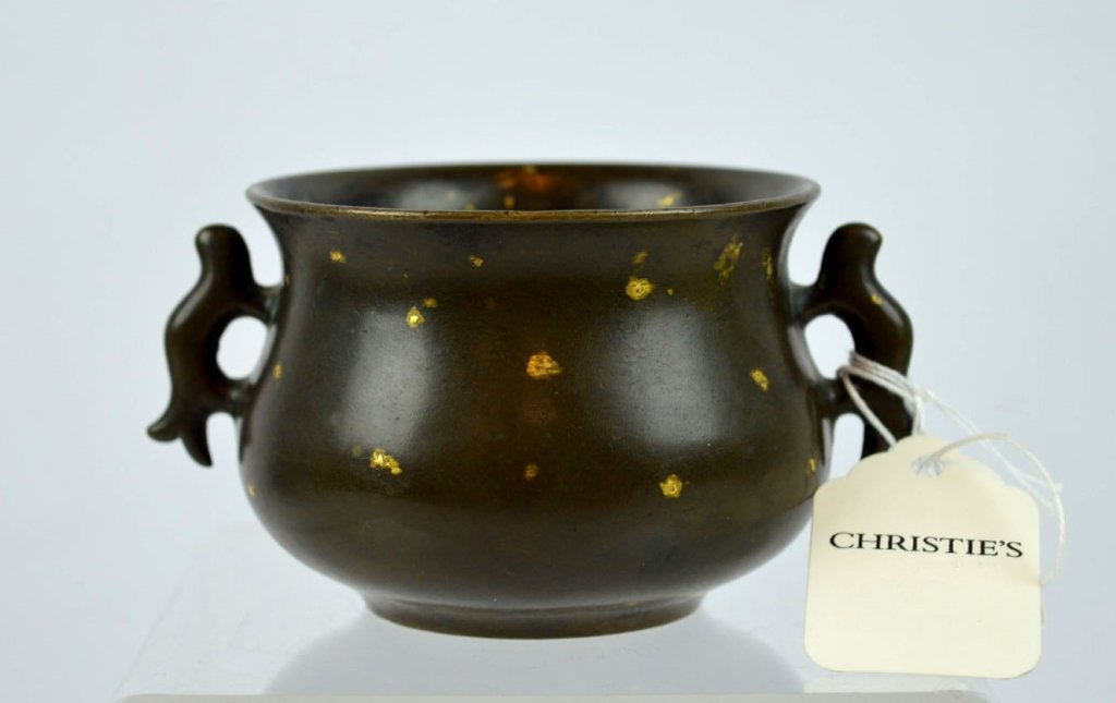Important Ming Chinese Gold-Splashed Bronze Censer