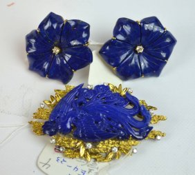 Carved Chinese Lapis Lazuli Phoenix & Earrings