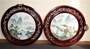Finely Painted Pr Chinese Enameled Porcelain Plaques