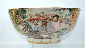 Early 18th C Chinese Mandarin Palate Punch Bowl