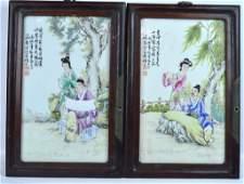 Pr Chinese Artist Painted Porcelain Plaques