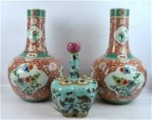 3 - Chinese Enameled Porcelain Vases