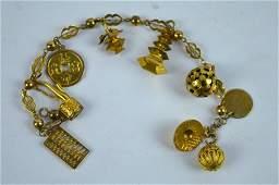"Chinese Yellow Gold Charm Bracelet marked ""14K"""