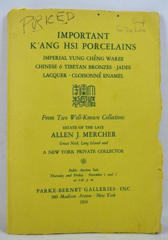 Parke Bernet 1956 Kangxi Porcelains New York