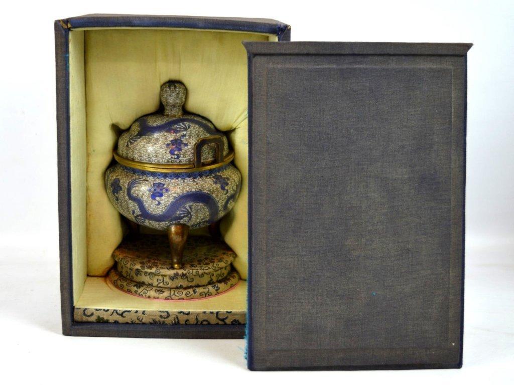 Late Qing Chinese Cloisonne & Gilt Bronze Censer