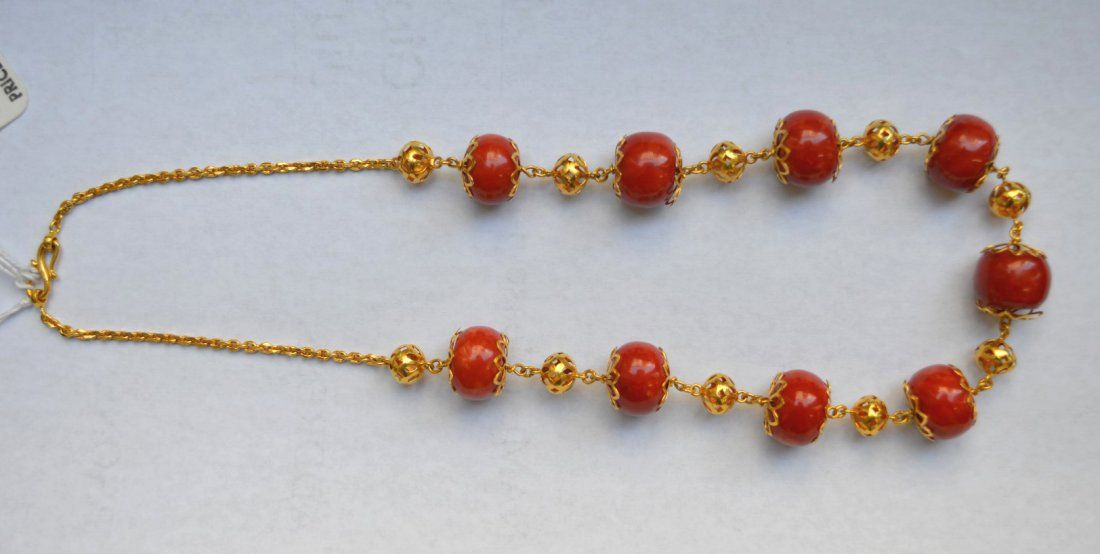 24 Karat Yellow Gold & Dark Coral Bead Necklace