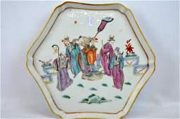 Chinese Enameled Porcelain Hexagonal Tray