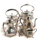 Fisher Sterling Coffee Service, Two Kettles, and C