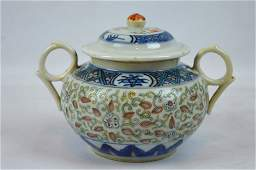 Chinese Guangxu Marked Doucai  Rice Pattern Jar