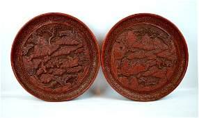 Fine Pr. 19th C Chinese Cinnabar Lacquer Plates
