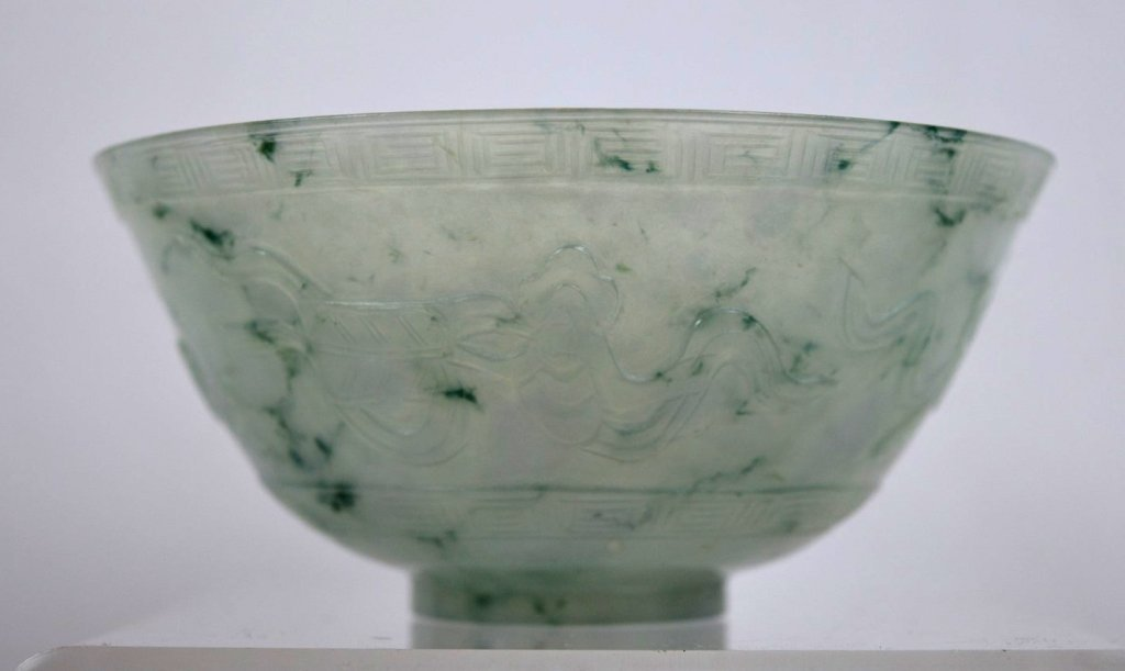 Chinese Carved Translucent Jadeite Bowl