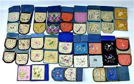 21 - Antique Chinese Embroidered Silk Pocket Sets
