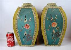 Rare Pr Late Qing Chinese Silk over Paper Urns