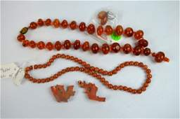Amber Necklace total 65G 2 Corals Red Beads