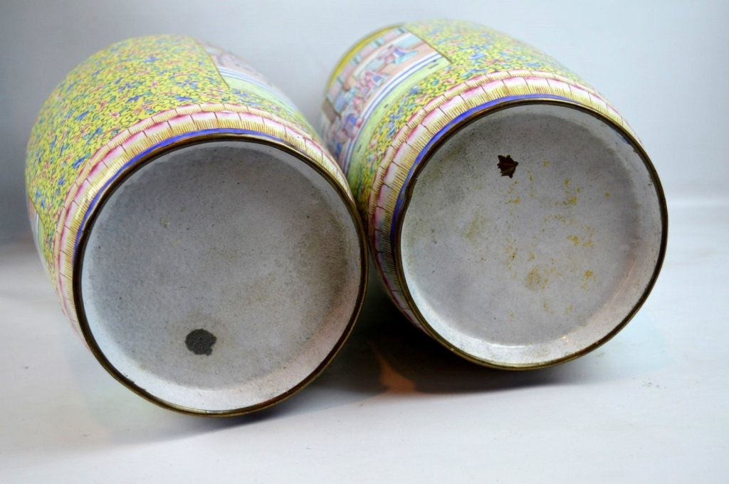 Pair 19thC Chinese Canton Enamel over Copper Vases - 10