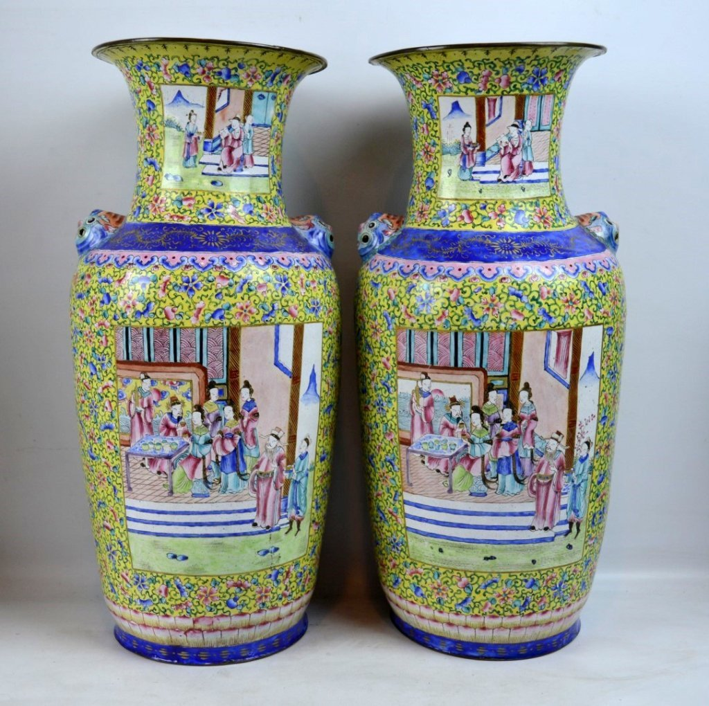 Pair 19thC Chinese Canton Enamel over Copper Vases