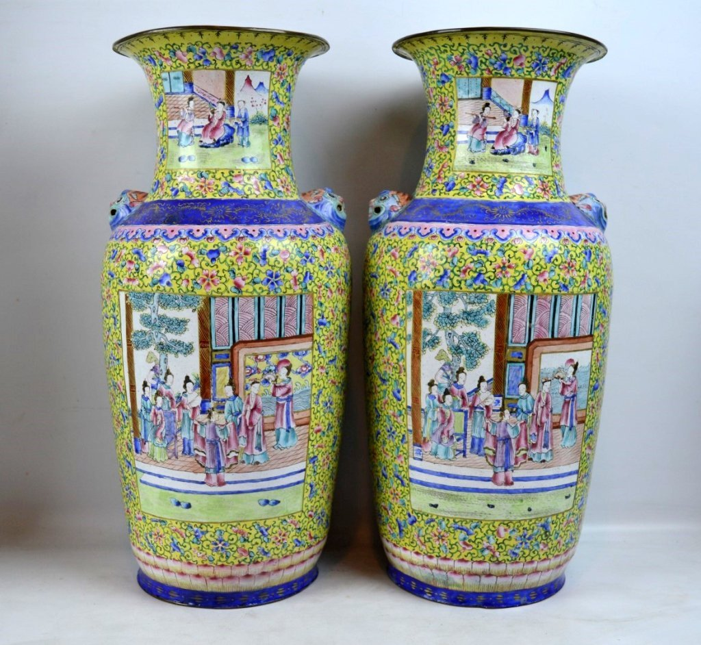 Pair 19thC Chinese Canton Enamel over Copper Vases - 2