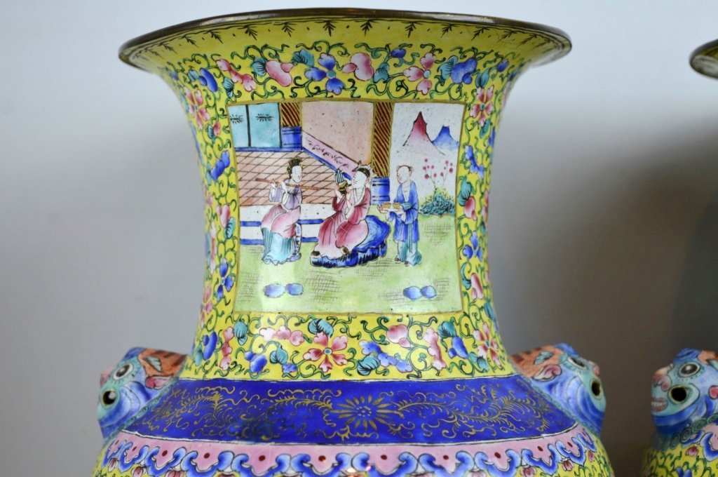 Pair 19thC Chinese Canton Enamel over Copper Vases - 4