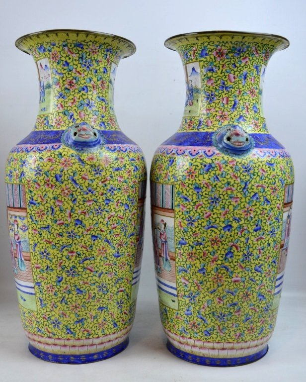 Pair 19thC Chinese Canton Enamel over Copper Vases - 8