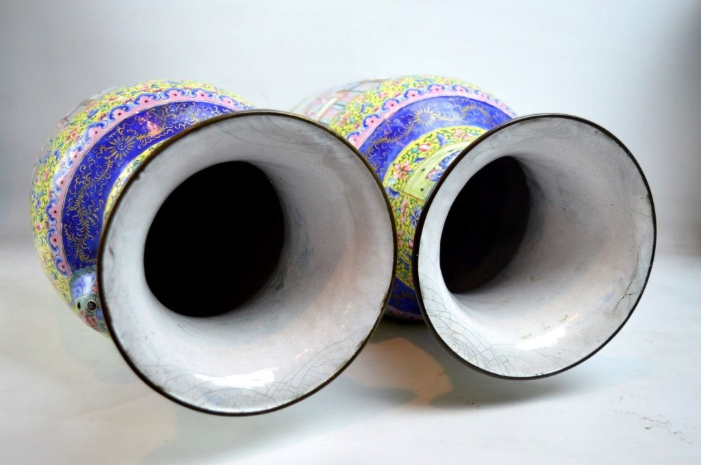 Pair 19thC Chinese Canton Enamel over Copper Vases - 9