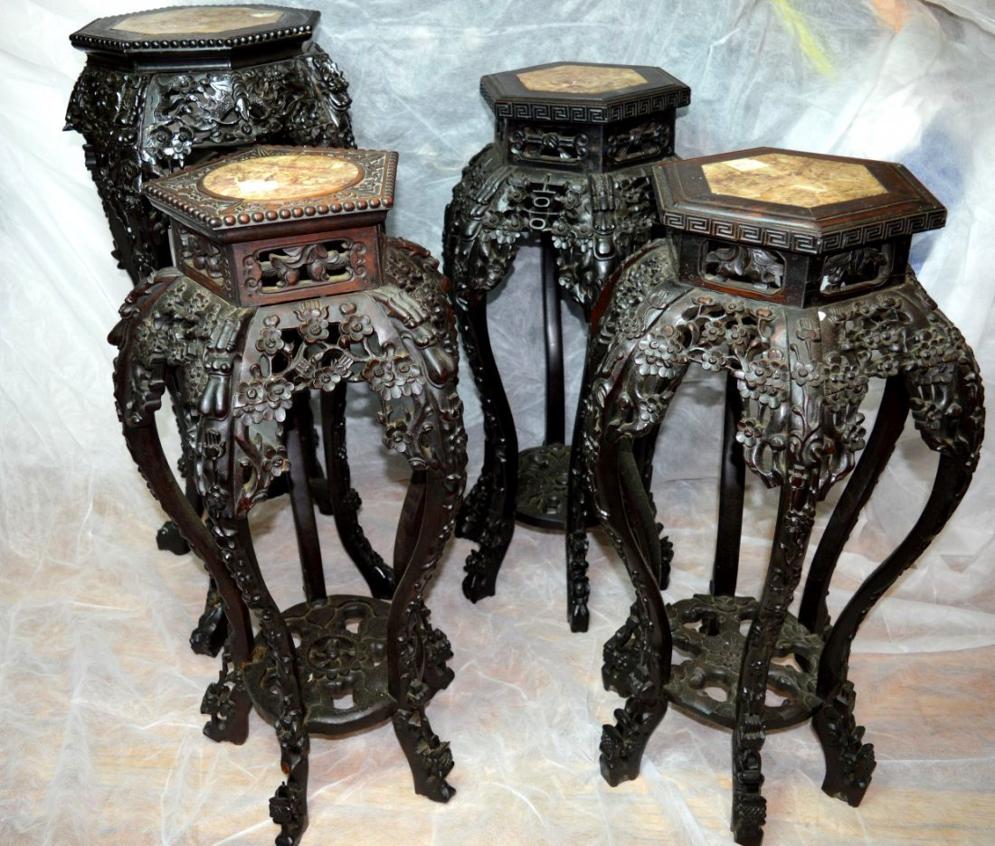4 - Carved Multiple-Leg Chinese Hardwood Tables