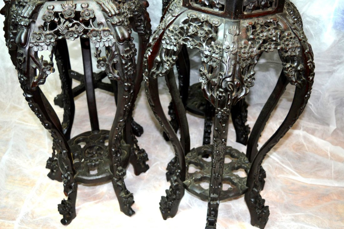 4 - Carved Multiple-Leg Chinese Hardwood Tables - 9