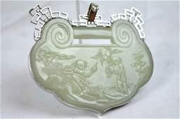 """18th C Chinese White Jade """"Lock"""" Shaped Pendant"""